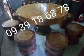 bộ bàn ghế gỗ nguyên khối