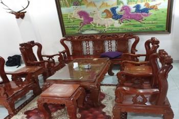 Thanh Lý Bàn Ghế Phòng Khách 10 Món Gỗ Gõ Đỏ Việt Nam